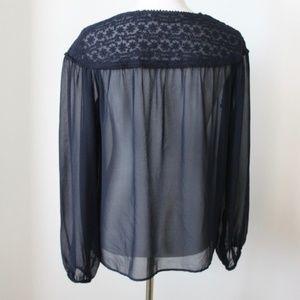 Zara Tops - Zara Sheer Blouse Size XS Navy Blue Long Sleeve